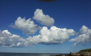 Perfect cumulus clouds over Beadnell.  (C) L. Keyes 2012